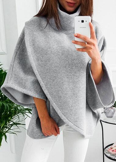 Turtleneck Asymmetric Hem Hoodie - fashionyanclothes
