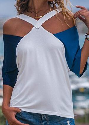 Short Sleeves Open Shoulder Top