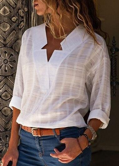 V Neck Casual Long Sleeves Top - fashionyanclothes