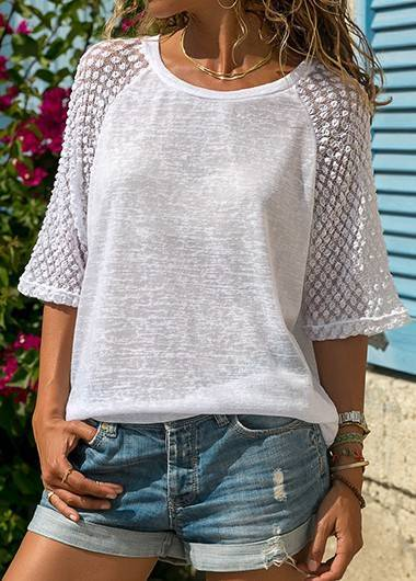 Patchwork Three Quarter Sleeve White Blouse - fashionyanclothes