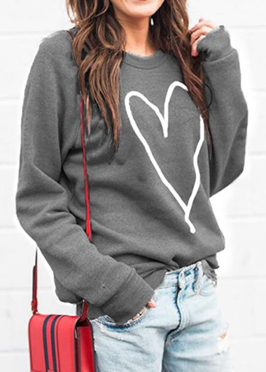 Heart Printed velvet Sweatshirt - fashionyanclothes