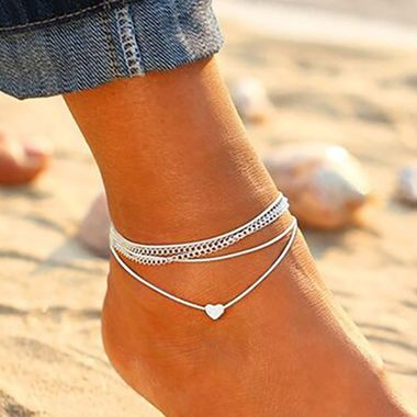 Heart Shape Silver Metal Anklets for Woman - fashionyanclothes