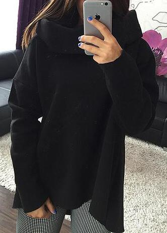 Scarf Collar Long sleeves Asymmetrical Hoodies - esshe