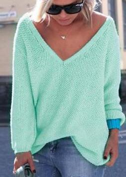 Knitted Loose  V Neck Sweaters - fashionyanclothes