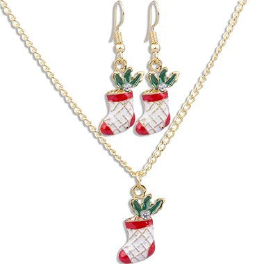 Christmas Socks Pendant Gold Metal Necklace Set - fashionyanclothes