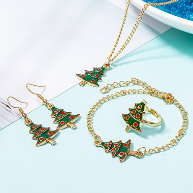 Christmas Tree Embellished Gold Metal Necklace Set - fashionyanclothes