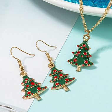 Christmas Tree Pendant Gold Metal Necklace Set - fashionyanclothes