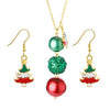 Gold Metal Christmas Tree Pendant Necklace Set - fashionyanclothes