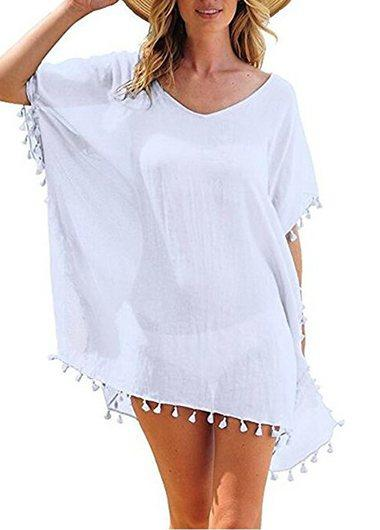 Women's Chiffon Tassel Cover up - fashionyanclothes