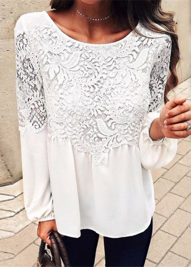 Loose Long Sleeve Lace T-shirt