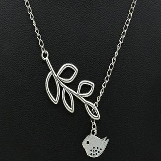 Metal Birds and Branch Pendant Necklace - fashionyanclothes