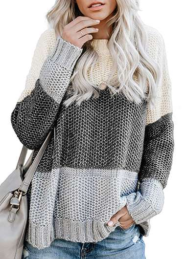 Color Block Knitted Loose Sweater - fashionyanclothes