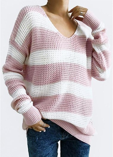 Fashionyan Cute Pink Striped Sweater - fashionyanclothes