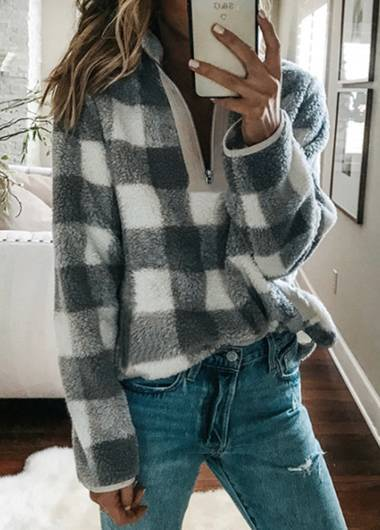 Zipper Plaid Print Turtleneck Hoodie - fashionyanclothes