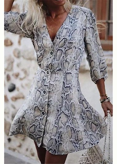 Fashionyan Snake Skin Printed Dress - fashionyanclothes
