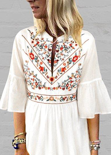 V Neck Printed Split Casual Dress - fashionyanclothes