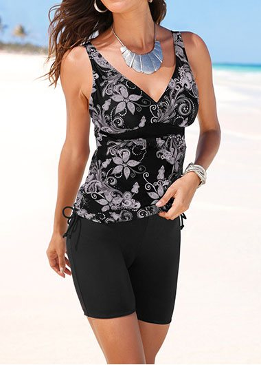 Racerback Printed Top and Swimwear Cropped Pants