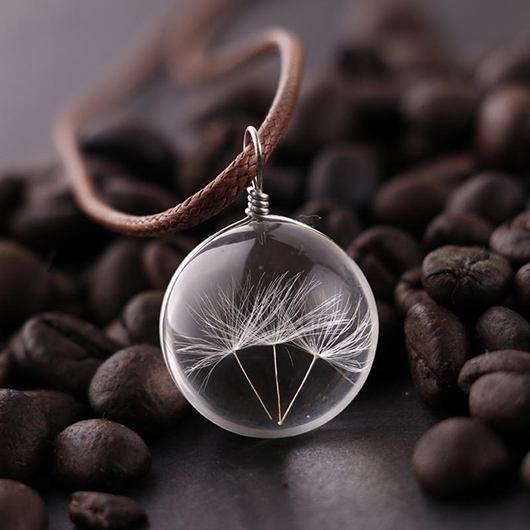 Dandelion Decorated Glass Ball Pendant Woman Necklace - fashionyanclothes