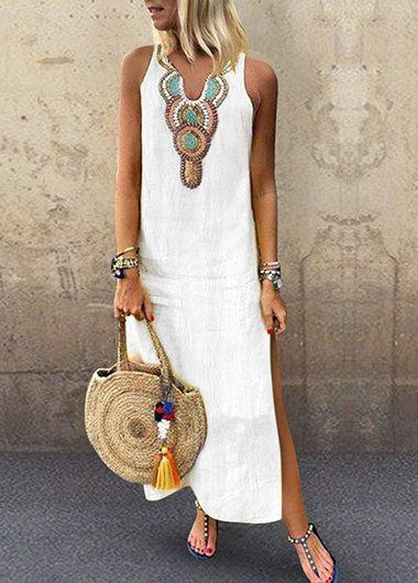 Side Split Printed Sleeveless Dresses - fashionyanclothes
