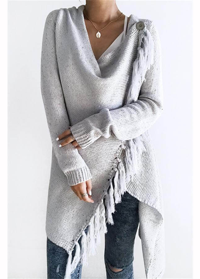 Grey Tassel Asymmetrical Hem Shawl Speckled Fringe Cardigan - fashionyanclothes