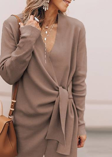Lace Up Long Sleeved Woolen Coat - fashionyanclothes