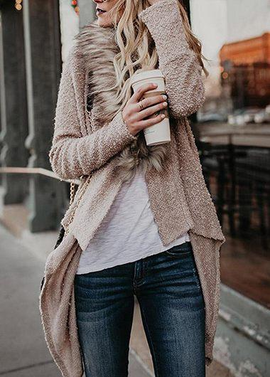 Solid Cardigan Plush Coat
