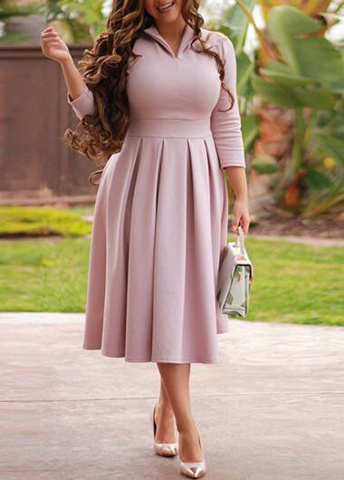 Turndown Collar Solid Mididress