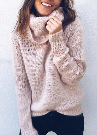 Turtle Neck Long Sleeve Solid Sweater - fashionyanclothes