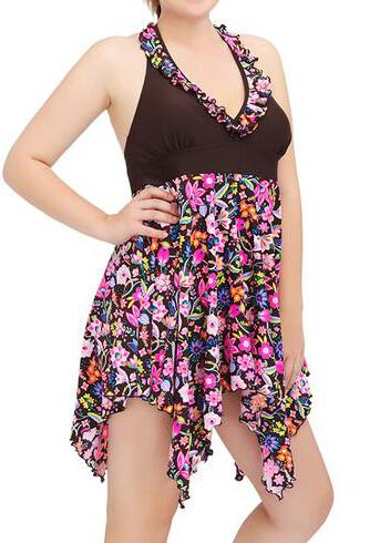 Plus Size Women Two Pieces Swimdress - esshe