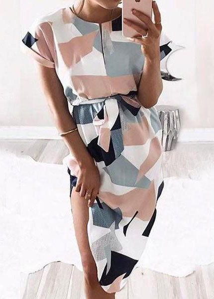 Short Sleeve Print  Straight Dress - fashionyanclothes