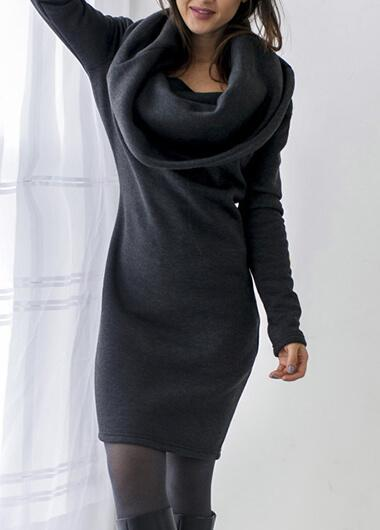 Turtlehead hooded long fall winter sweater dress - fashionyanclothes