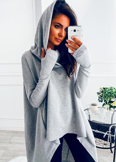 Gray Long Sleeve Hoodie - fashionyanclothes