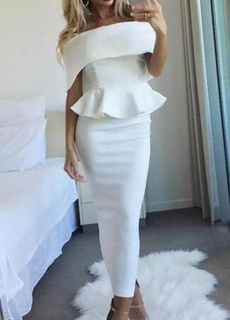 White  Off Shoulder Ruffles Party Dresses - esshe