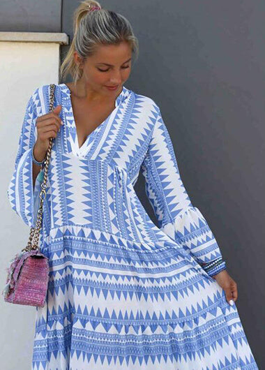 Long Sleeve Striped Print MaxiDress - fashionyanclothes