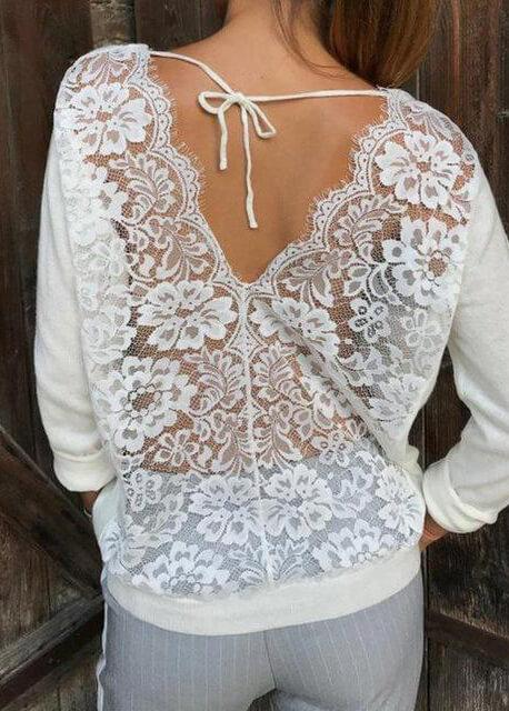 Loose Lace Back Casual Tops - fashionyanclothes