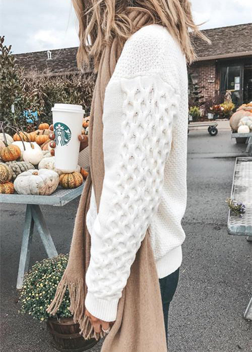 Textured Cable-Knit Mock Neck Pullover Milk Sweater - fashionyanclothes