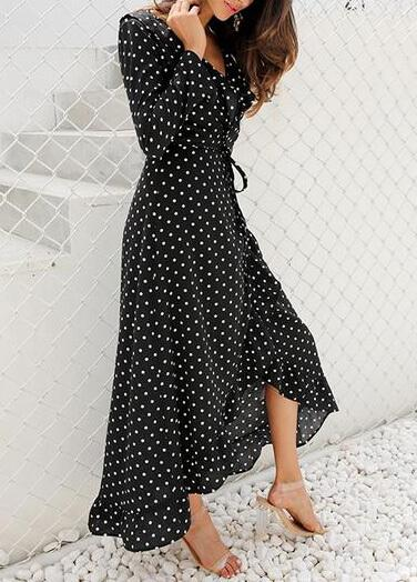 Polka Dot Ruffle Wrap Dress - esshe
