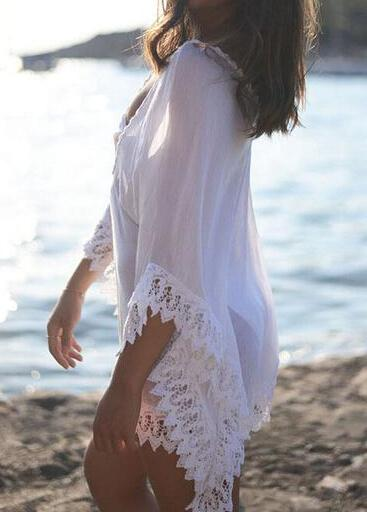 Half Flare Sleeve Lace Cover Up - fashionyanclothes