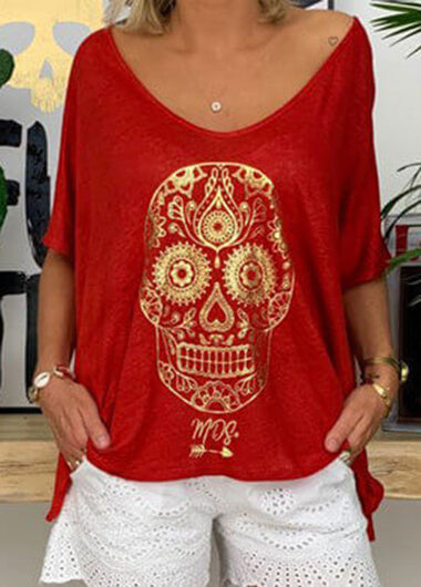 Halloween V Neck   Skull  T Shirt - fashionyanclothes