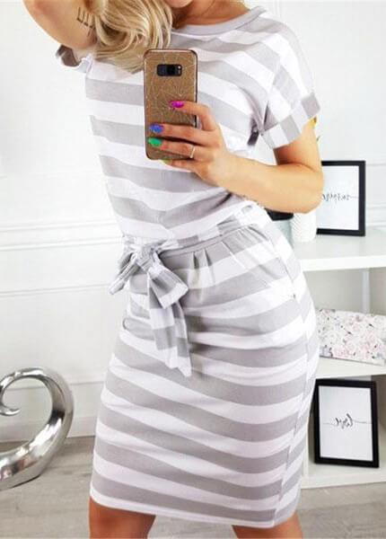 Elegant Striped Short Sleeve Dress - fashionyanclothes