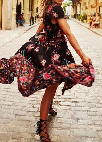 Vintage  Print Floral Party  Dress with Belt - fashionyanclothes