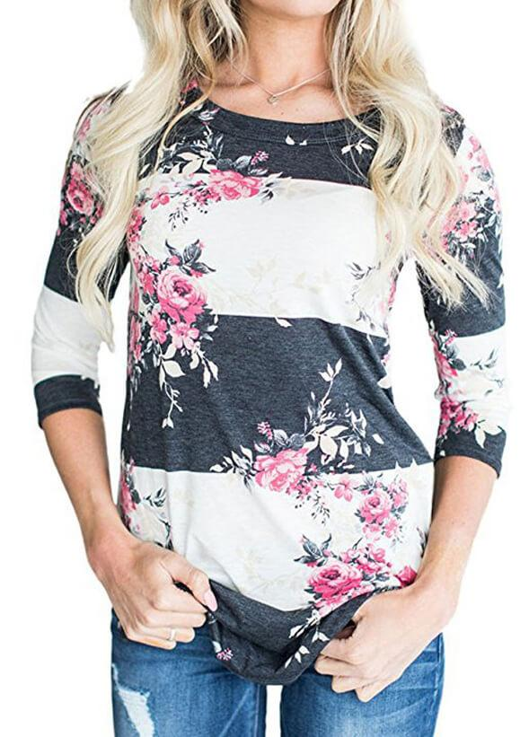 Floral Print Striped  T shirt - fashionyanclothes