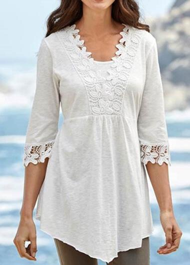 Half Sleeve Lace Patchwork Blouse - fashionyanclothes