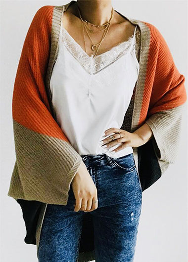Fashionyan Casual Color Block Loose Cardigan - fashionyanclothes