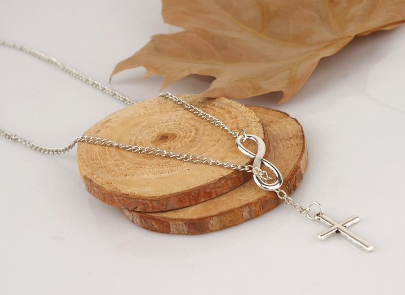 Infinity Shape Cross Pendant Silver Metal Necklace - fashionyanclothes