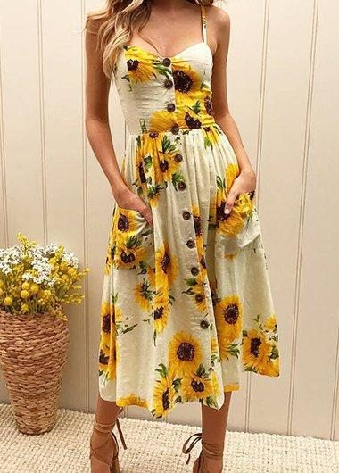 Sunflower Pinted Button Detail Dress