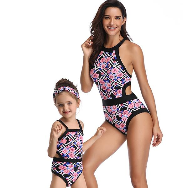 Mom & ME Printed Patchwork Swimsuit