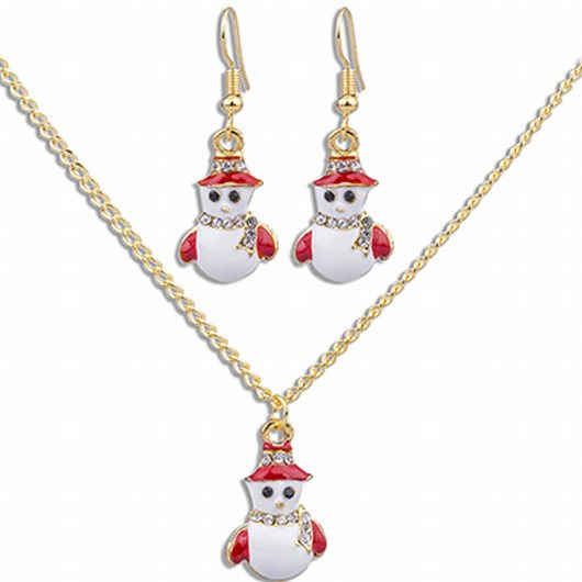 Snowman Pendant Gold Metal Christmas Necklace Set