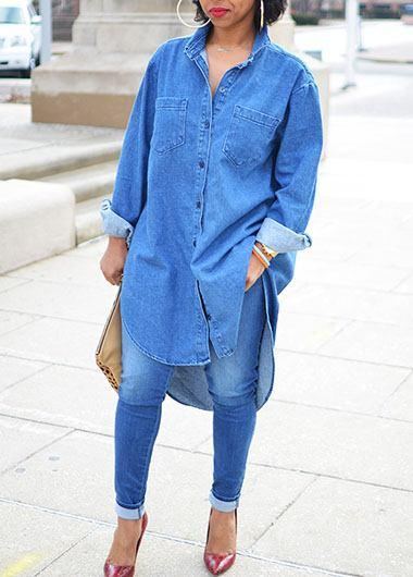 Button Closure Asymmetric Hem Denim Dress - fashionyanclothes