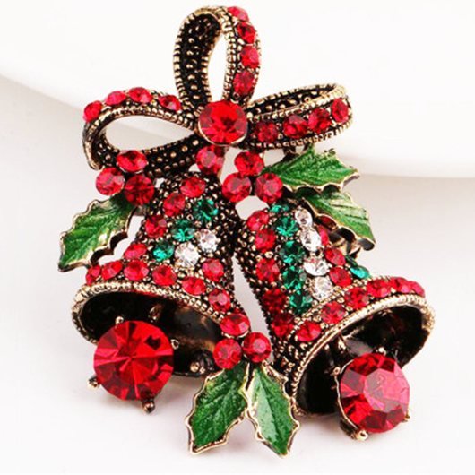 Vintage Bell Style Christmas Brooch - Silver